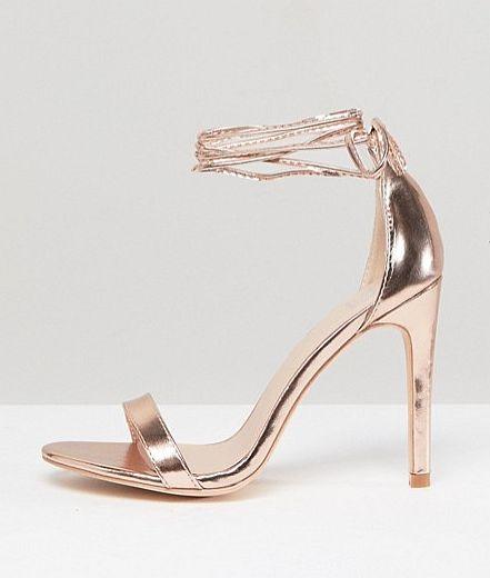 sandały złote szpilki h&m