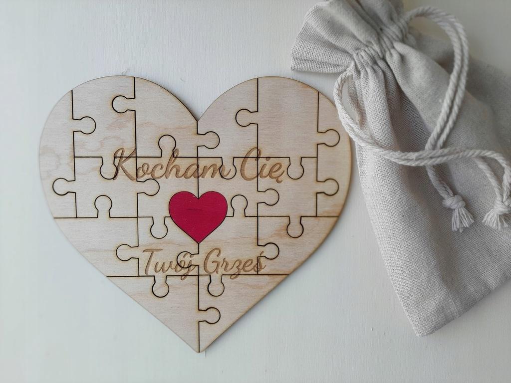 Puzzle serce ze sklejki dedykacja