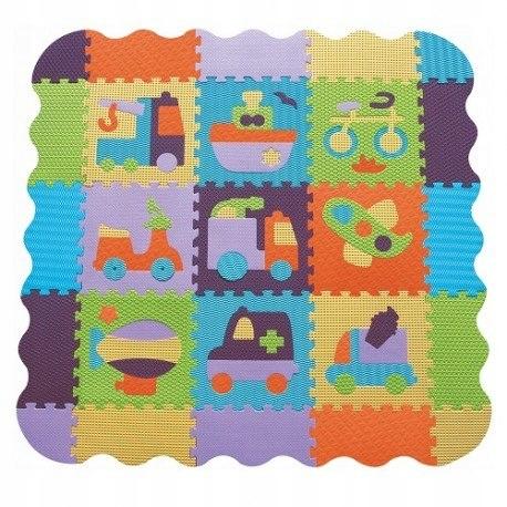 Piankowe puzzle podłogowe bajkowy transport z obrz