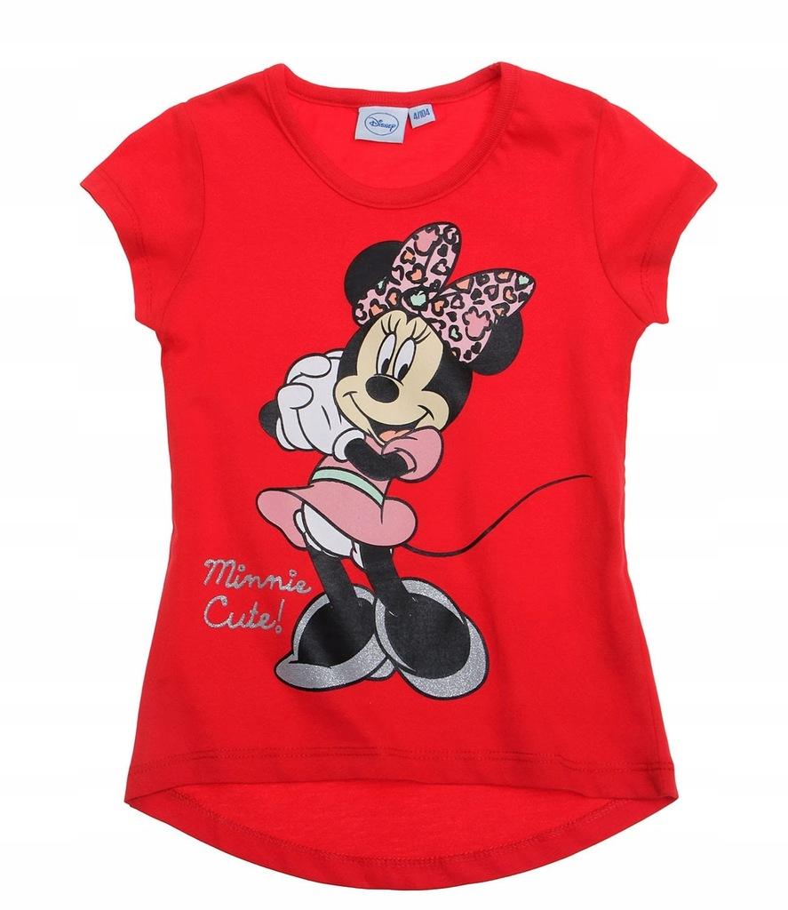 Myszka Minnie 128 koszulka t-shirt czerwona Disney