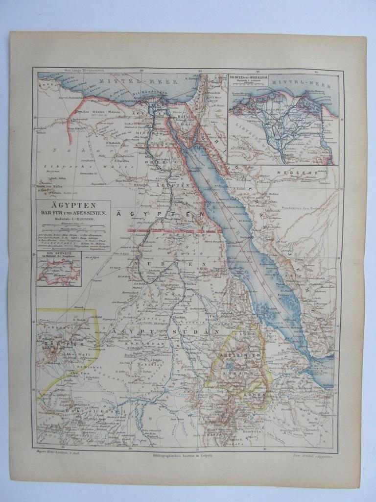 AFRYKA EGIPT ABISYNIA MORZE CZERWONE mapa 1890 r.