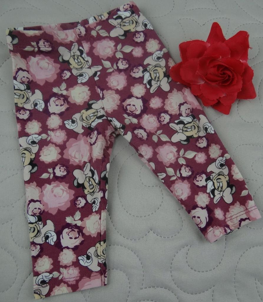 DISNEY legginsy MYSZKA MINNIE kwiatki 3/6M 68cm 2J