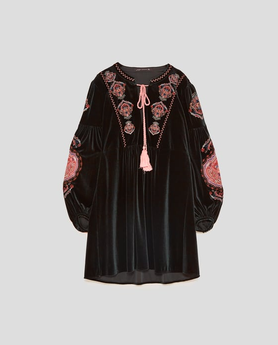zara luksusowa aksamitna sukienka haft *XS* (824)