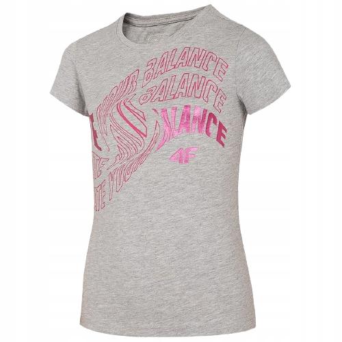 T-shirt koszulka dziewczęca 4F szara 164 cm