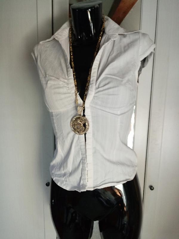 Biała gorsetowa koszula H&M haftki S XS krótka
