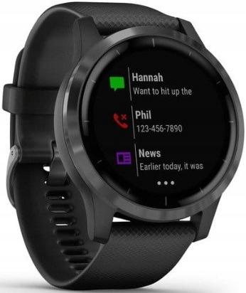 Czarny Zegarek sportowy GARMIN Vivoactive 4 GPS
