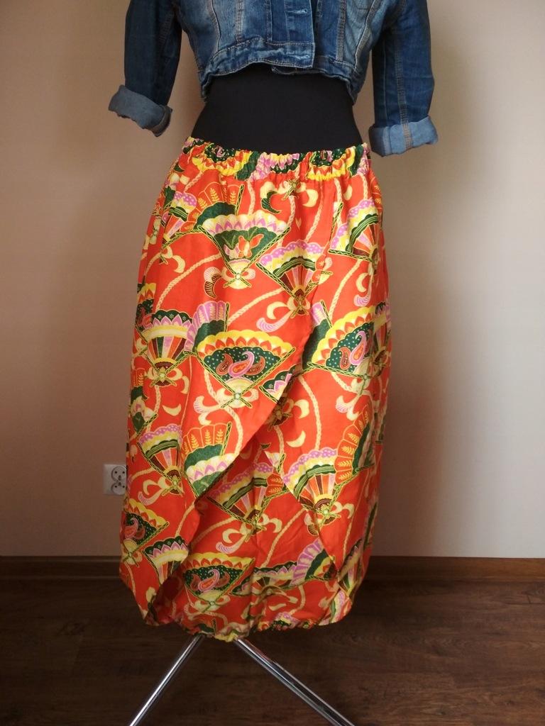 Indyjska spódnica złoty print Orientalny ogród