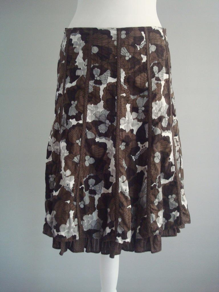 Spódnica brązowa w kwiaty midi 38