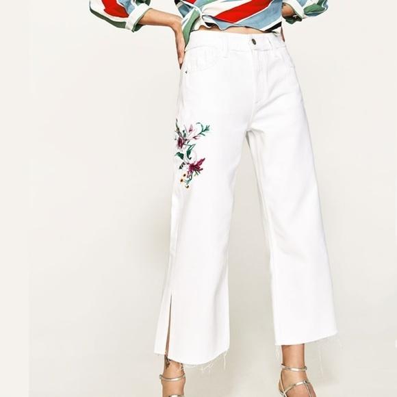 zara szerokie spodnie białe w grochy