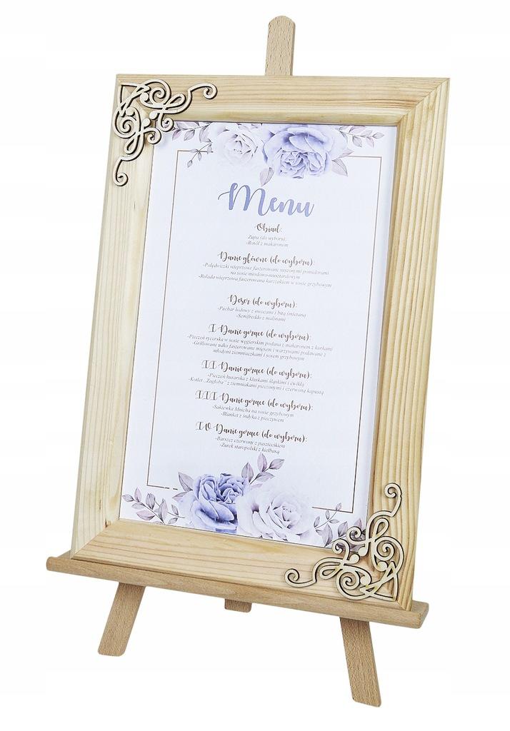 Menu weselne na sztaludze ramka karta dań na stół