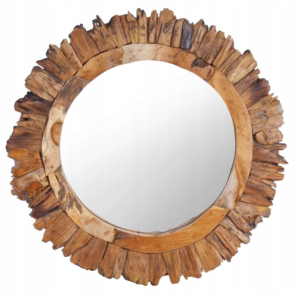 Lustro ścienne, 60 cm, tekowe, okrągłe