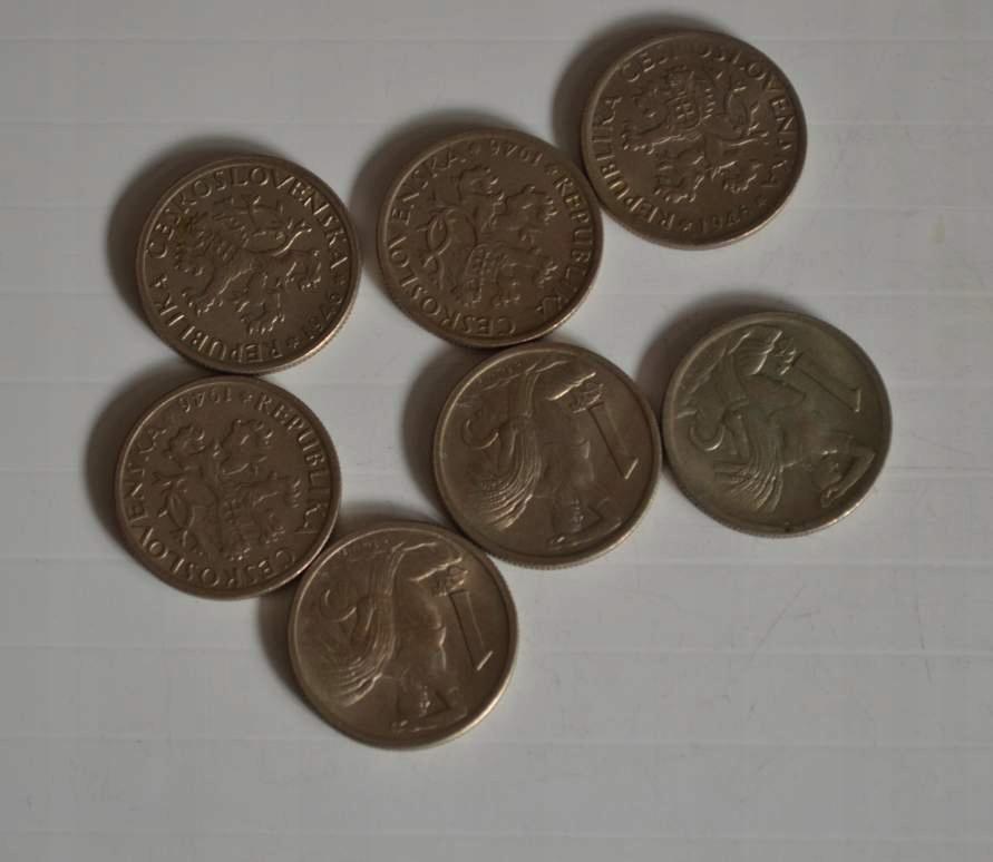 Stara Czechosłowacja 1 Korona 1946 rok - 7 monet