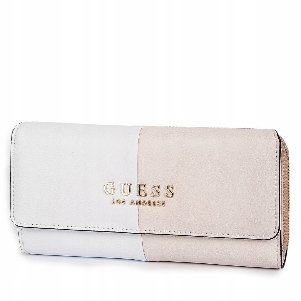 GUESS Beżowo biały duży portfel