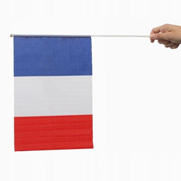 Flaga Francji z Masztem 46 x 30 cm