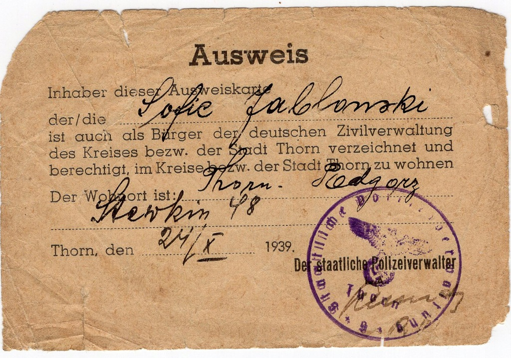 Ausweis Toruń X.1939r