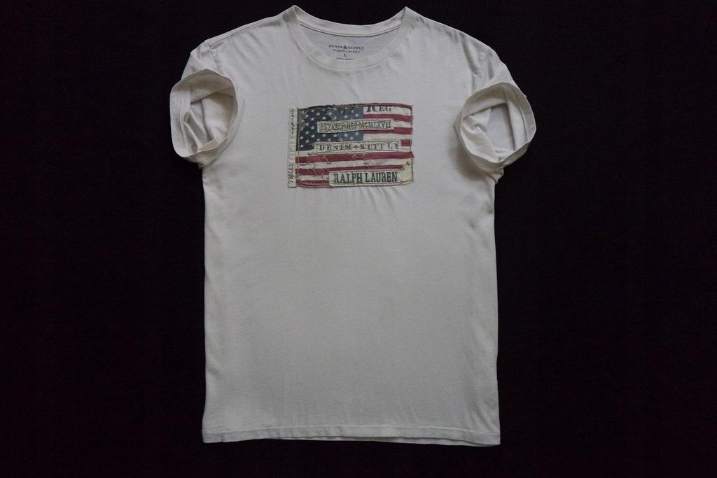 RALPH LAUREN koszulka beżowa t-shirt logowana____L