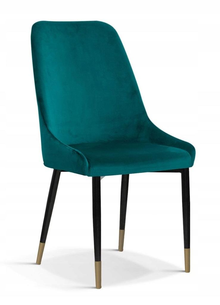 Krzesło OLIVIER M turkus/ noga czarno-złota/ BL85