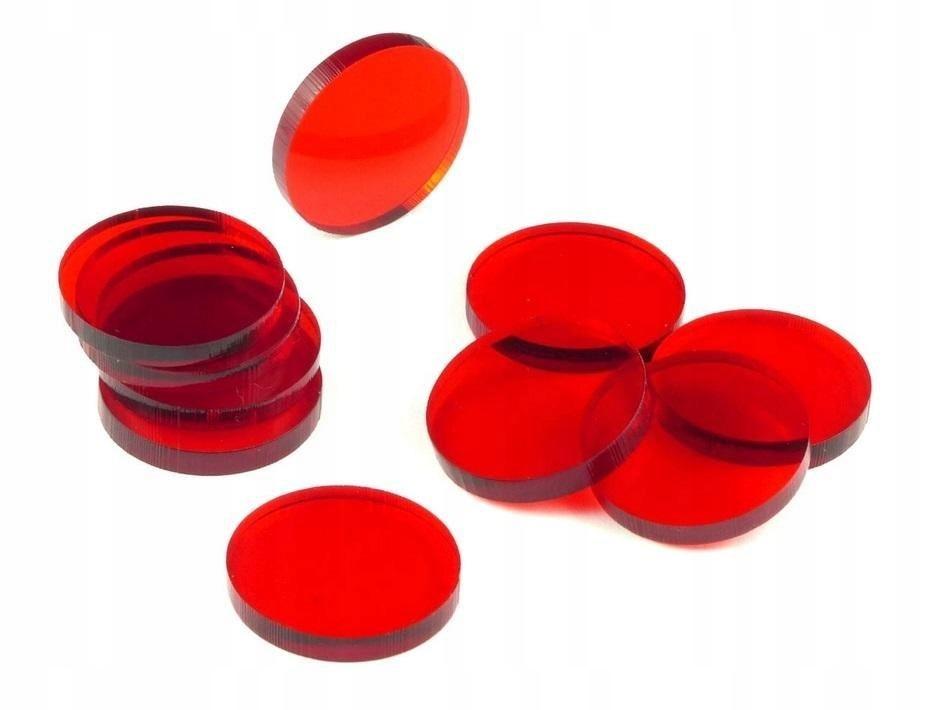 Znaczniki akryl czerwone okrągłe 22x3mm 10szt