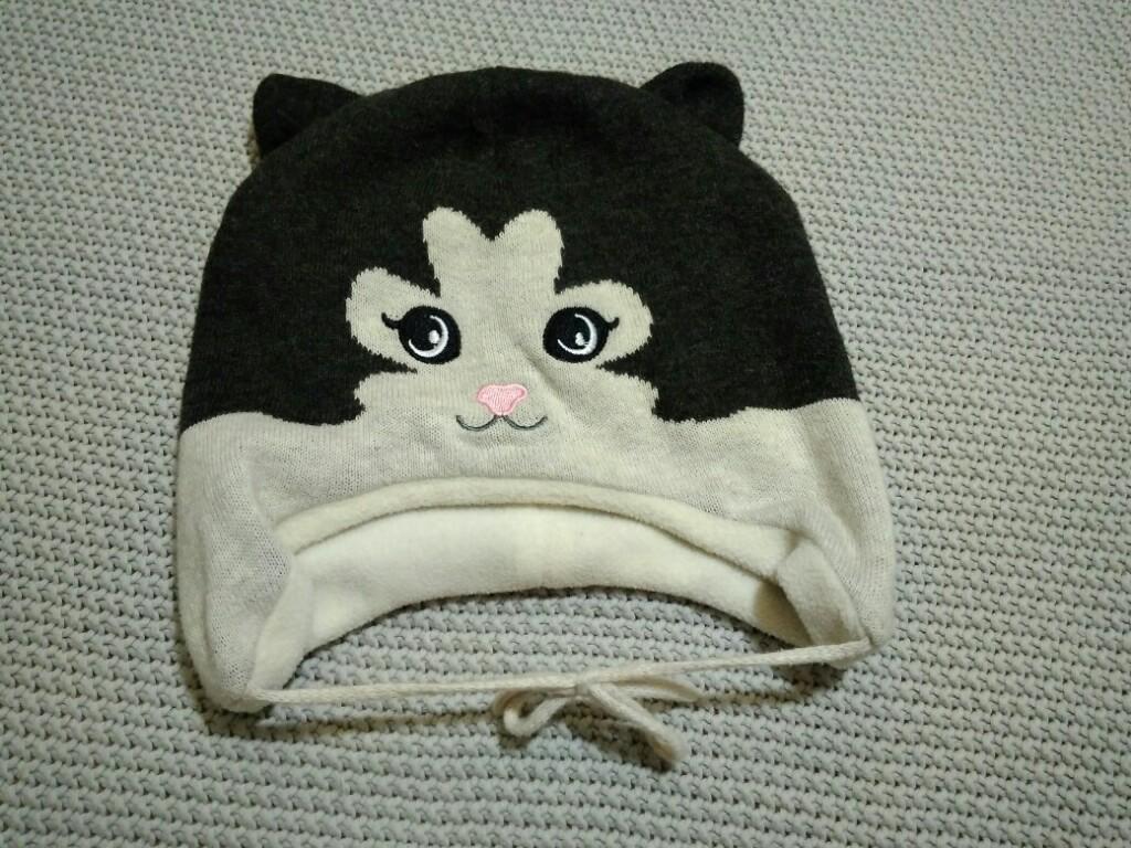 H&M grafitowa czapka zimowa kot r. 86 BDB