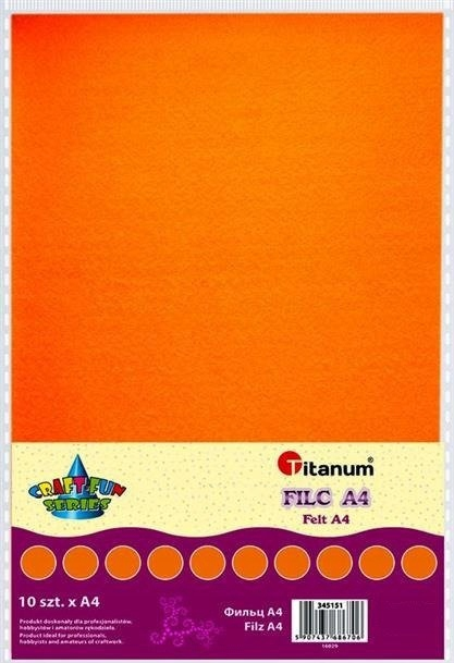 Filc dekoracyjny, 10ark format A4 pomar, CRAFT-FUN
