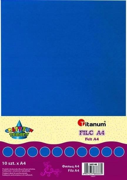 Filc dekoracyjny, 10ark format A4 niebi, CRAFT-FUN