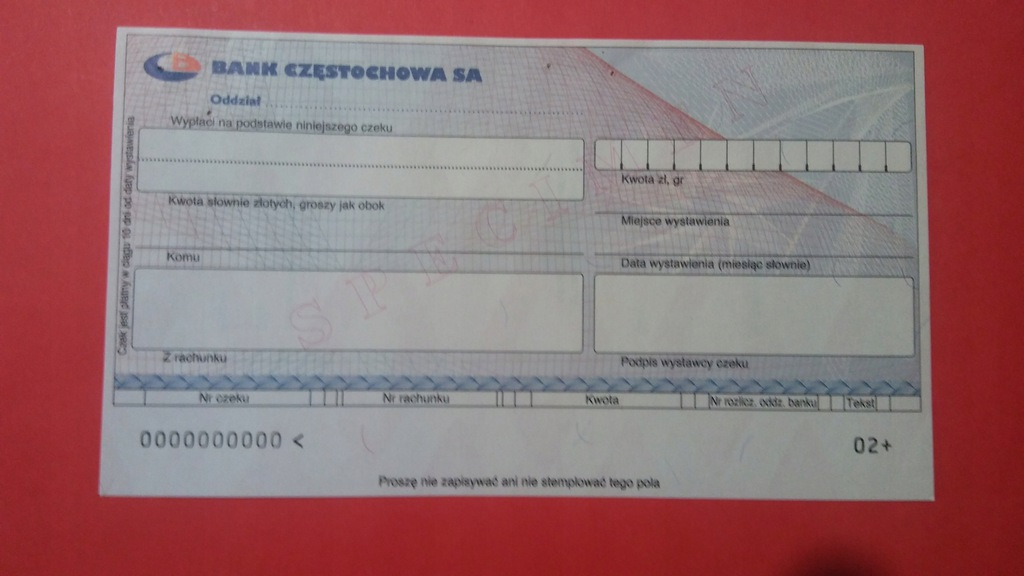 CZEK SPECIMEN BANK CZĘSTOCHOWA S.A.