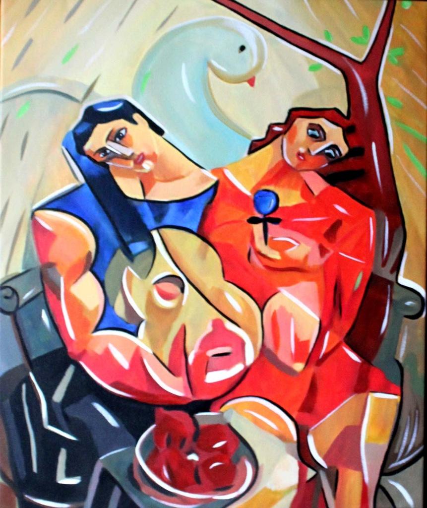 Tomasz Kubik Under the apple tree obraz 60x50cm