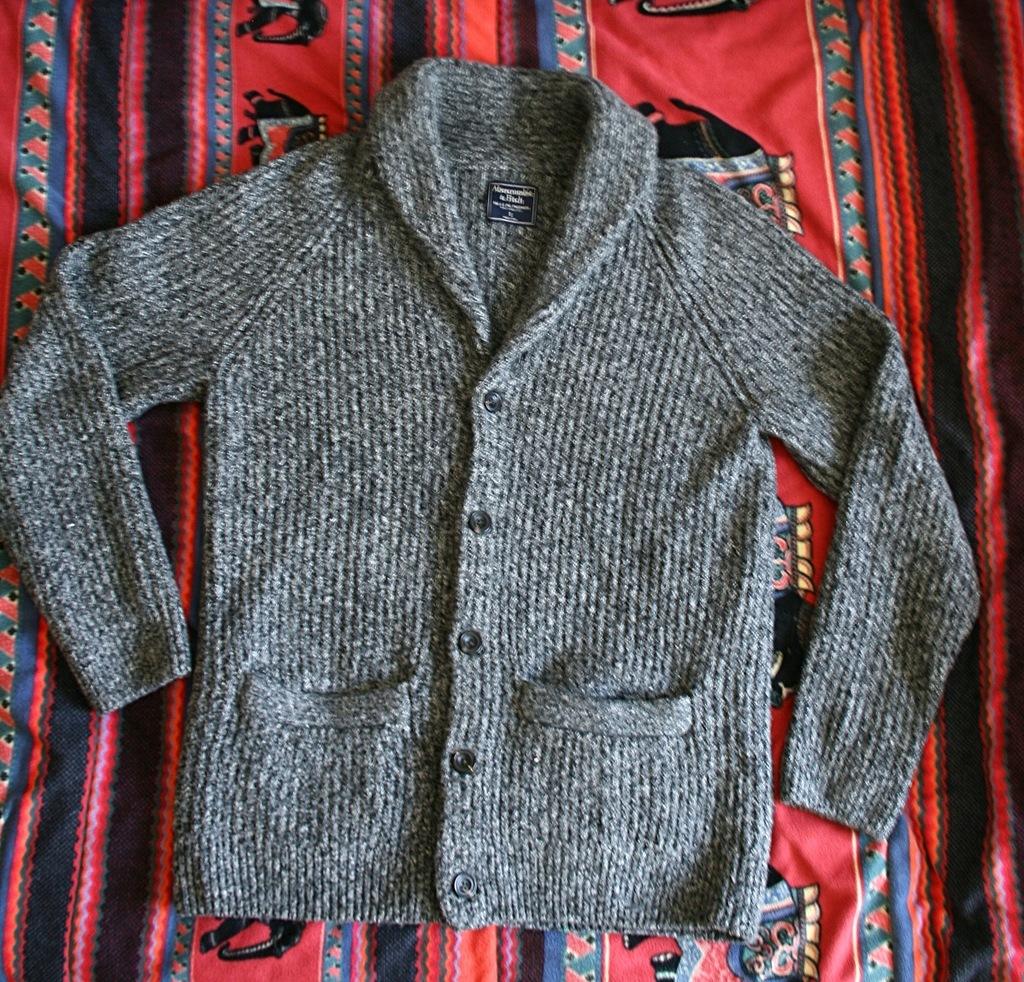 ABERCROMBIE & FITCH sweter kardigan szalowy S