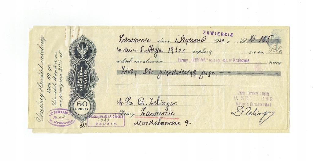 Weksel 8 Firma Chroma Kraków 1930 - protest