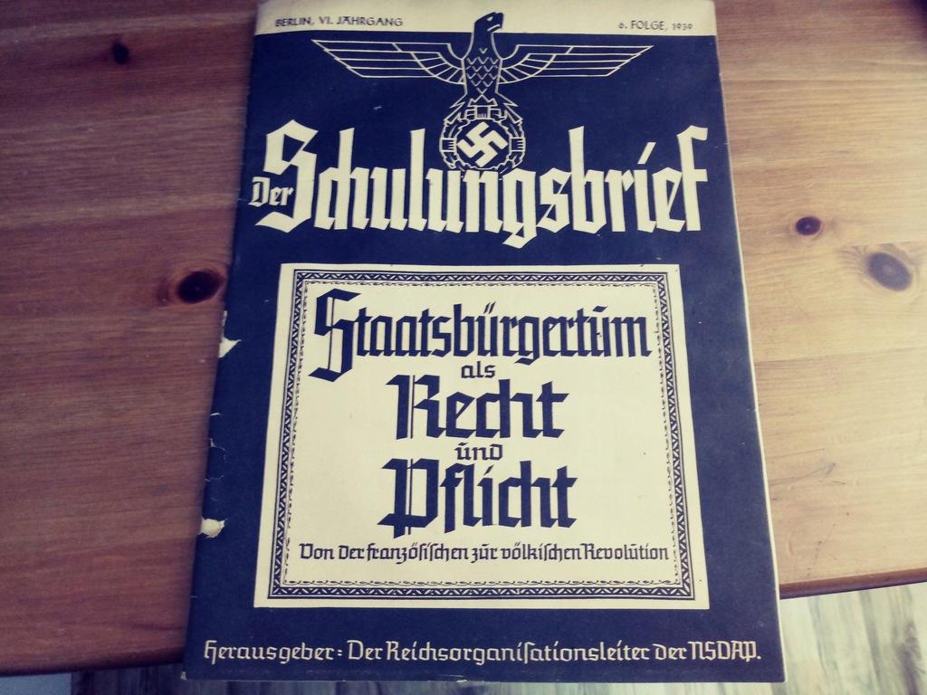 GAZETA III RZESZA DER SCHULUNGSBRIEF FOLGE 1939