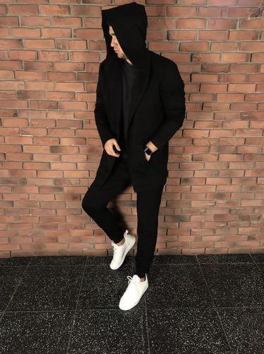 Dres płaszcz oraz spodnie full black nowe piękne