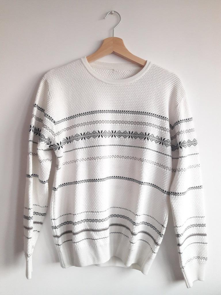 sweter ZARA / rozmiar S / biały w romby