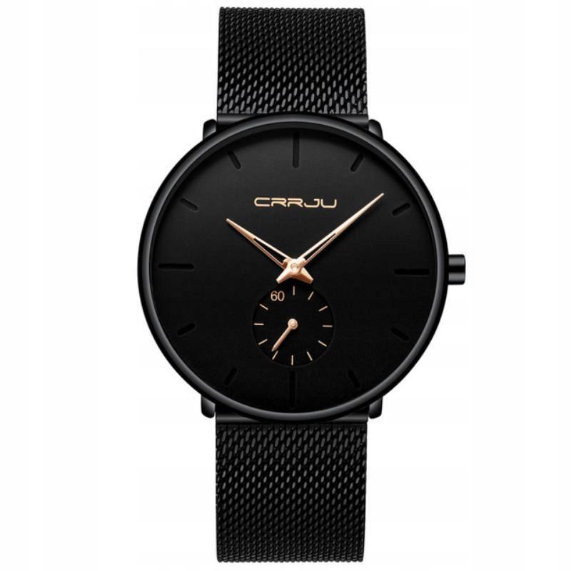 Zegarek męski czarny/złoty elegancki klasyczny