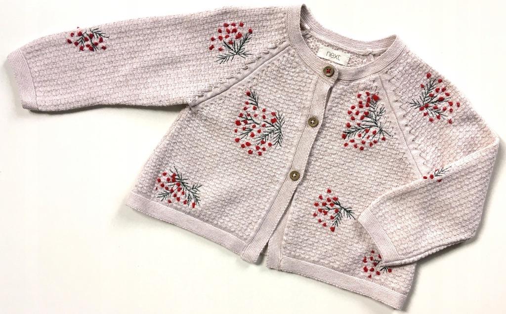 NEXT rozpinany sweterek jarzębina 74 6-9m