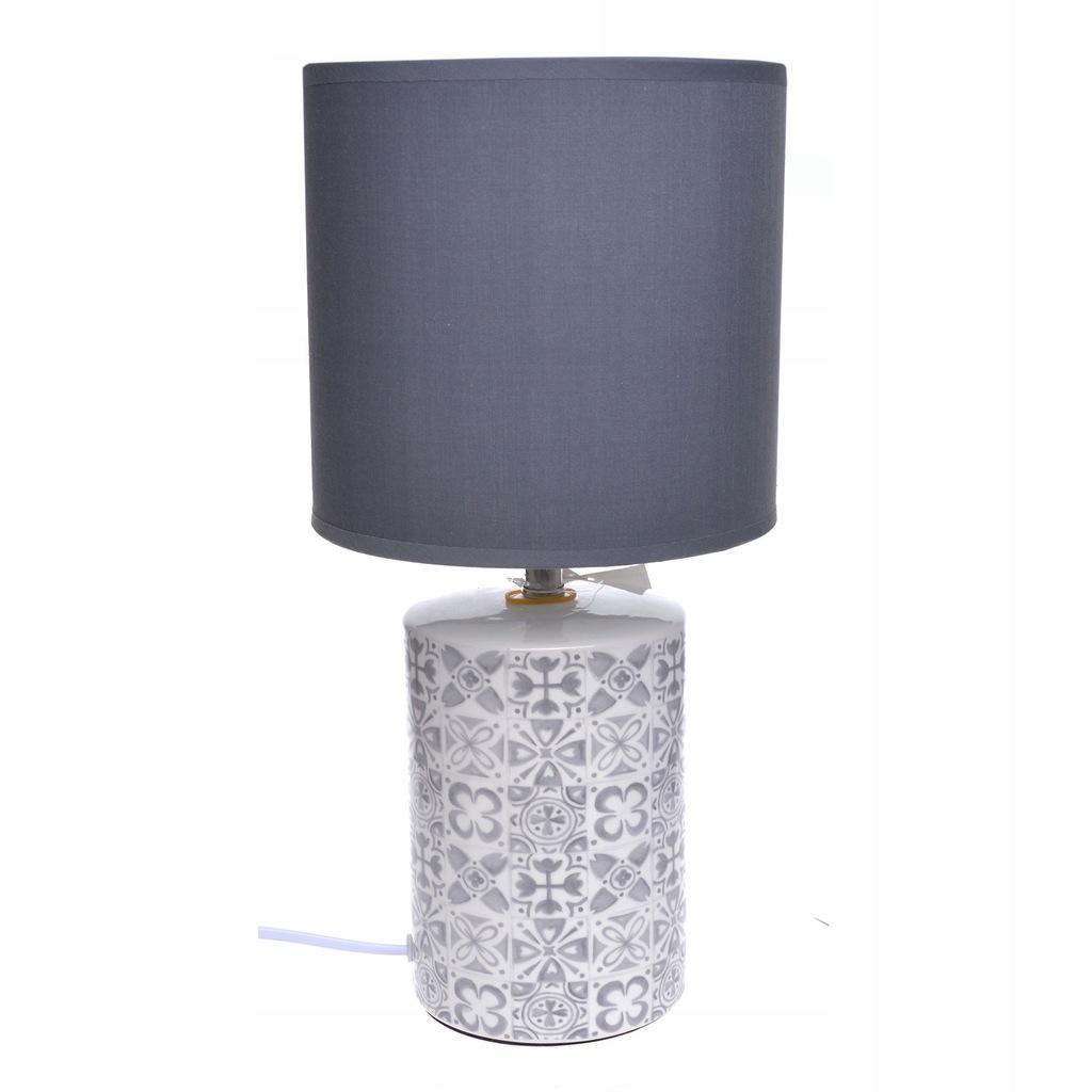 Lampa lampka nocna szara ceramiczna abażur stołowa