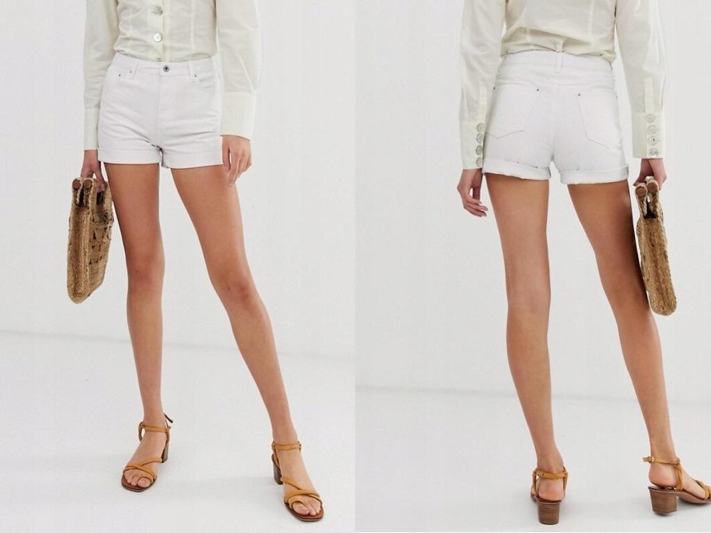 Warehouse białe jeansowe spodenki szorty M/38