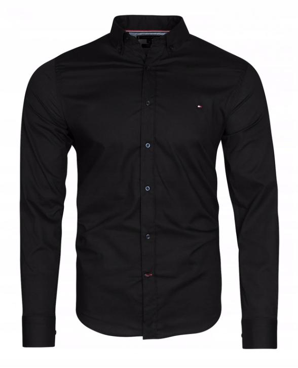 Koszula męska Tommy Hilfiger TH Slim czarna XL