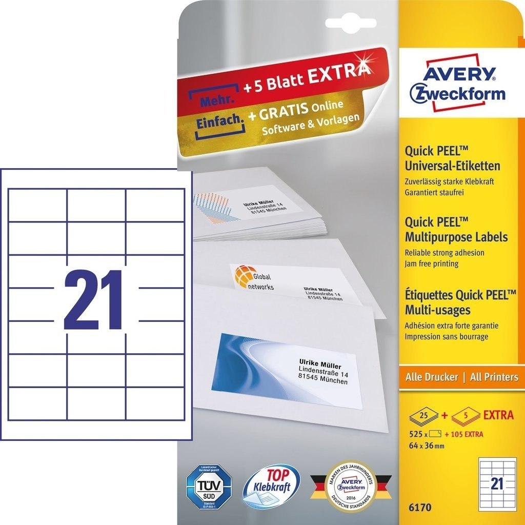 Etykiety ZF A4 64x36mm białe 6170 AVERY ZWECKFORM