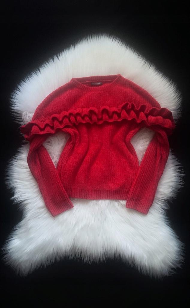 Primark czerwony sweter długi rękaw falbanka 34