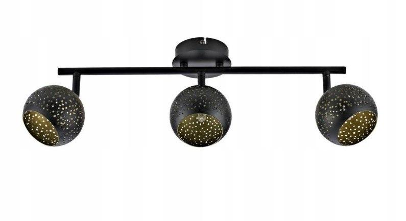 Lampa plafon 3x LOFT SUNNY 48cm czarno złota nad s