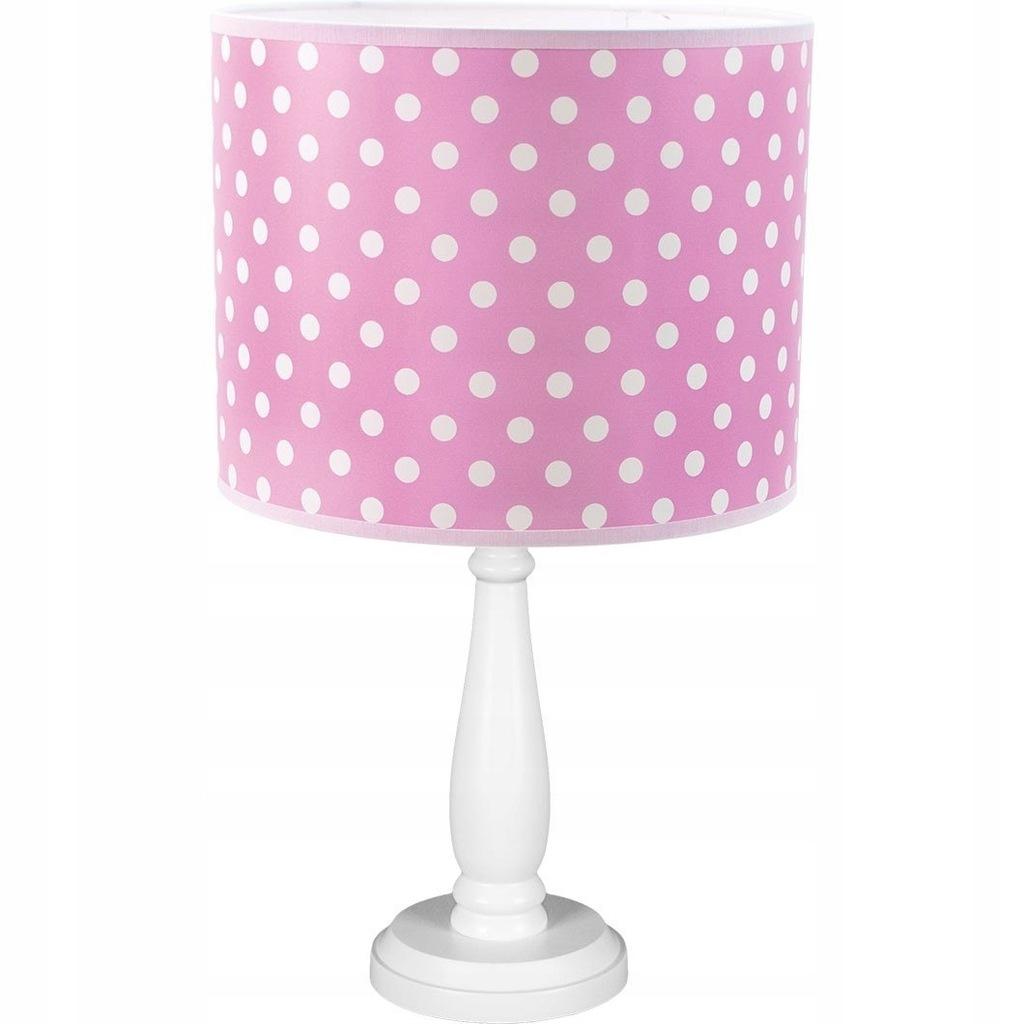 Lampa biurkowa dziecięca Verka różowa groszki