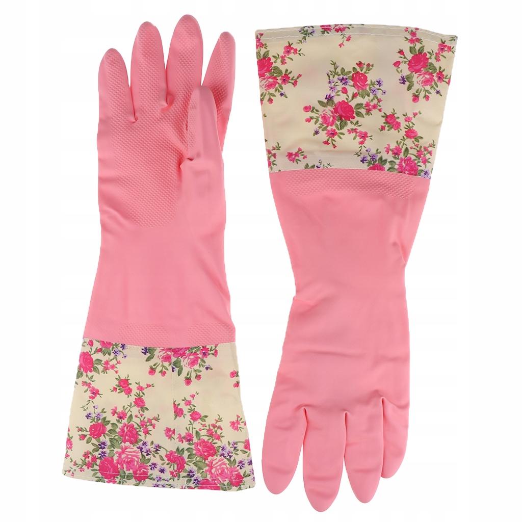 Gumowe rękawice do czyszczenia - Różowy kwiat