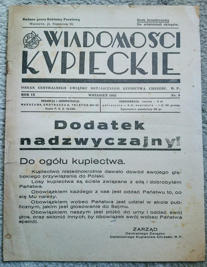 POLSKA Wiadomości Kupieckie WYBORY 1935 PROPAGNDA