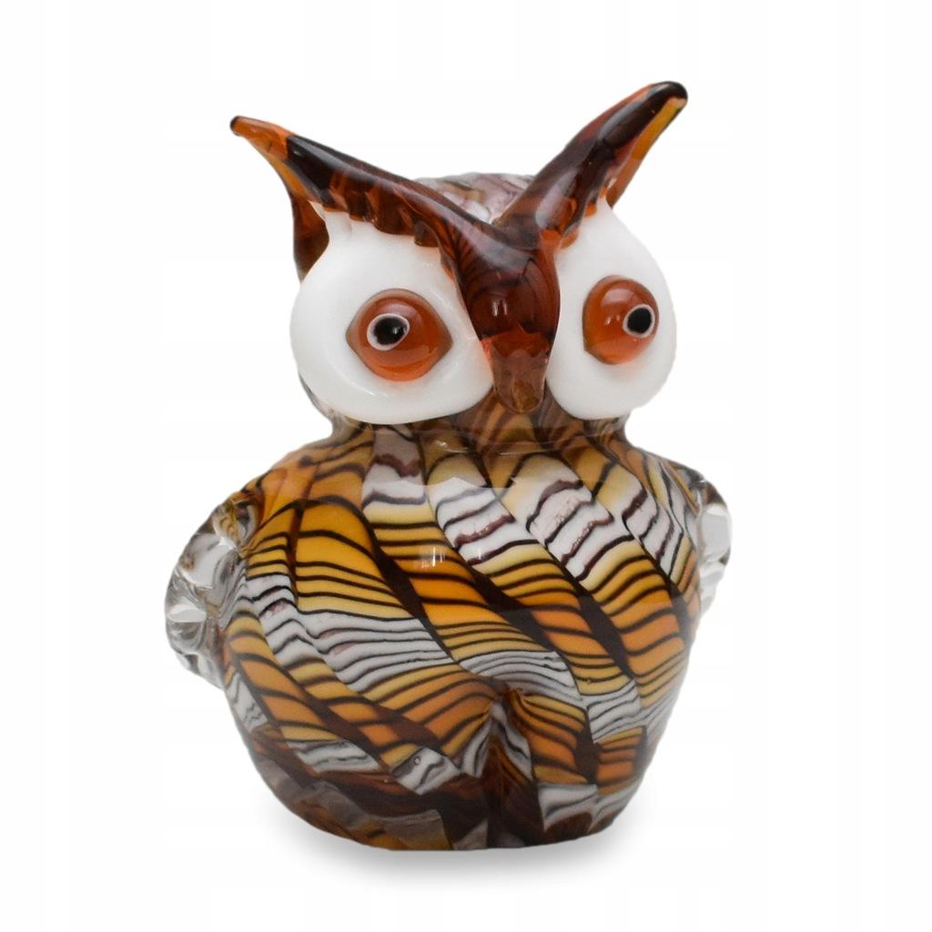 Sowa Figura Szklana w Stylu Murano Prezent Dekor