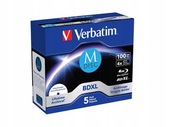 M-DISC BD-R 100GB X4 PRINTABLE 5 JEWEL CASE