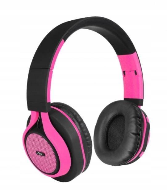 Słuchawki Bluetooth nauszne z mikrofonem różowe