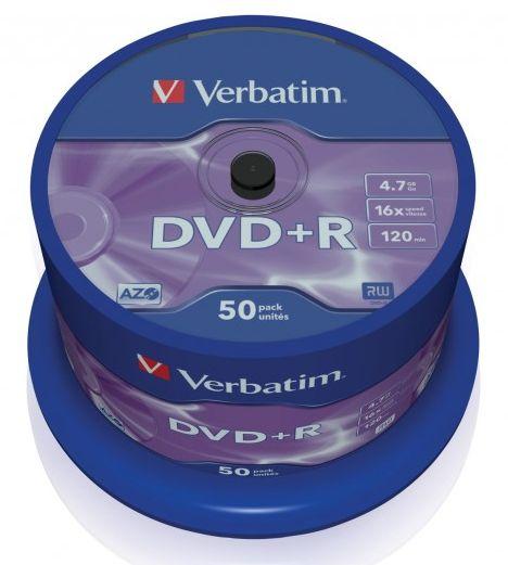 VERBATIM PŁYTY DVD+R 4,7GB 16x Cakebox 50 szt.