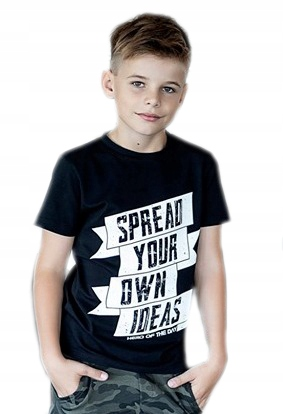 ALL FOR KIDS - CZARNY T-SHIRT NAPISY 152/158