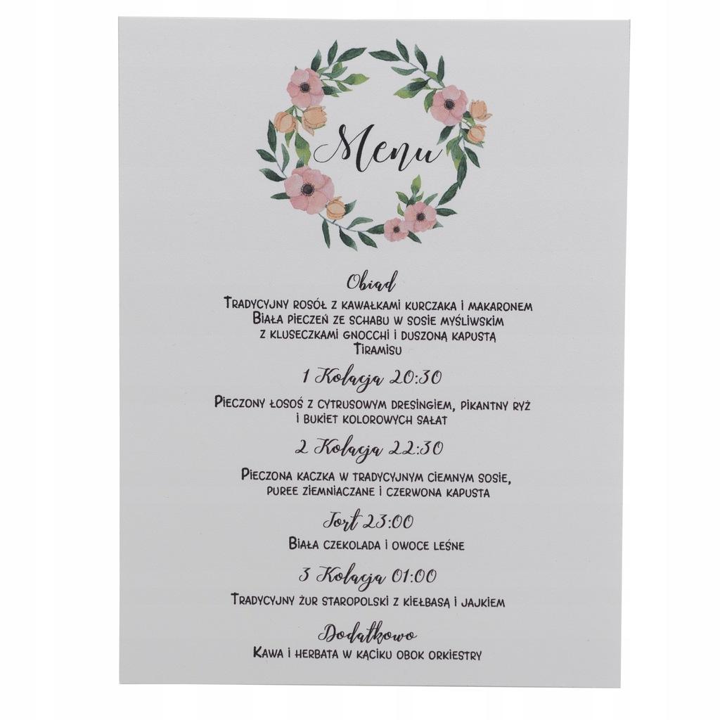 Menu weselne wesele ślub botaniczne rustykalne