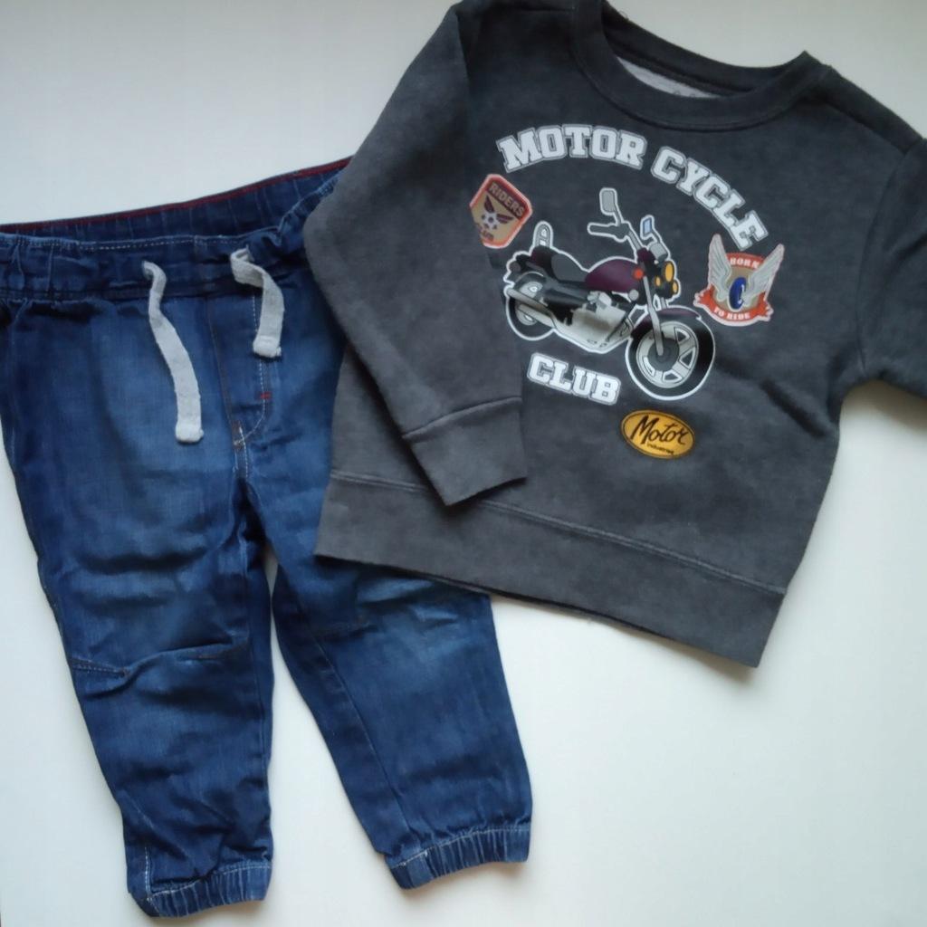 Spodnie jeansy H&M + bluza motocykl 86